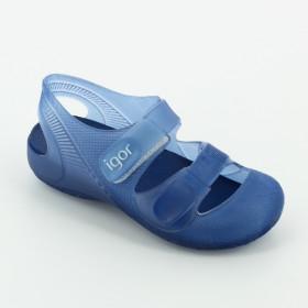 Sandalo Igor Tenis bambina bambino in gomma blu  da mare con chiusura a fibbia